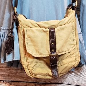 Fossil yellow canvas cross body bag, leather trim.